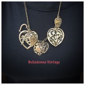 Bold Filigree Heart Charm Necklace